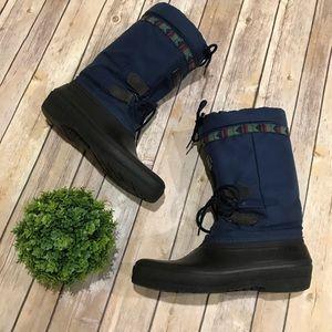 LL Bean Vintage Blue Tribal Aztec Winter Boots 7